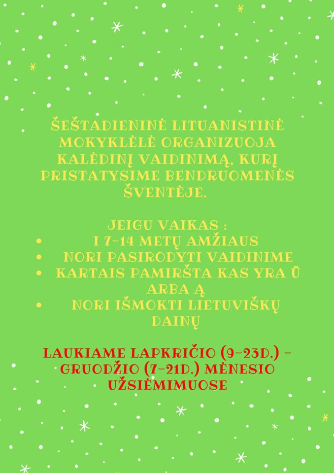 Kalėdinis vaikų spektaktis kartu su lietuviška  mokykla International Baltic School