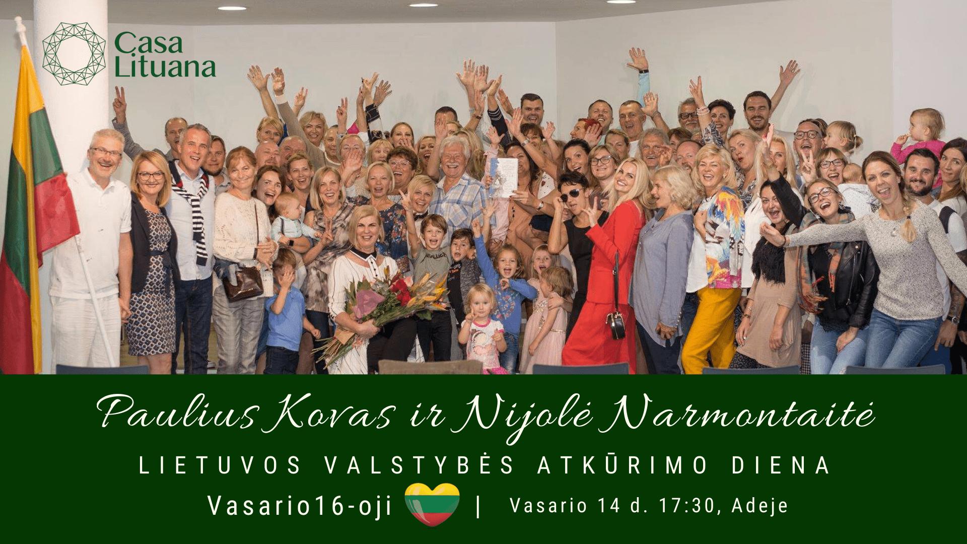 Paulius Kovas ir Nijole Narmontaite Lietuvos nepriklausomybes diena renginiai tenerifeje