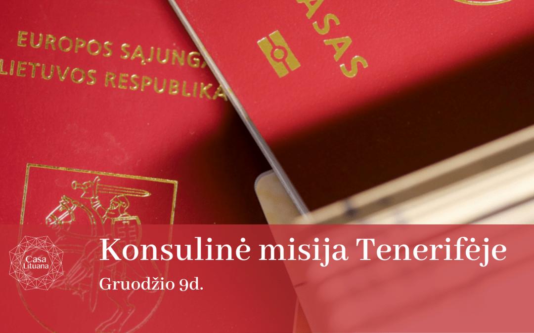 Konsuline misija Ispanijos karalyste lietuviskas pasas renginiai Tenerifeje